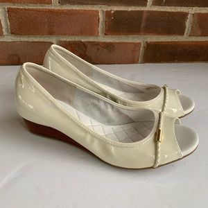 Cole Haan patent leather peep toe wedge shoes